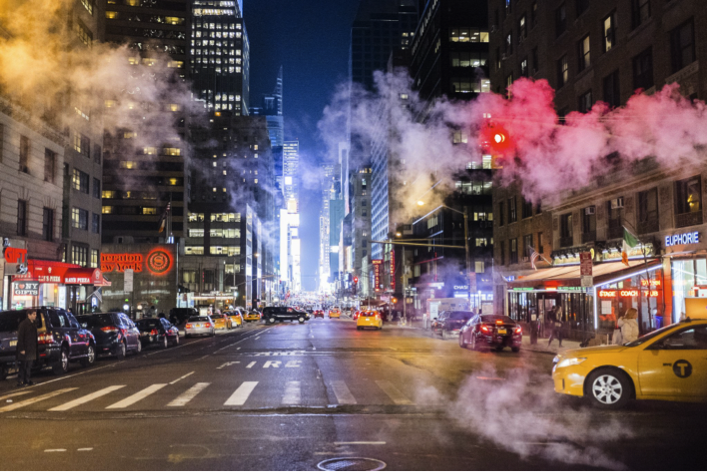 Steam clouds in New York City