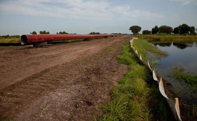 Natural Gas Pipeline near wetlands