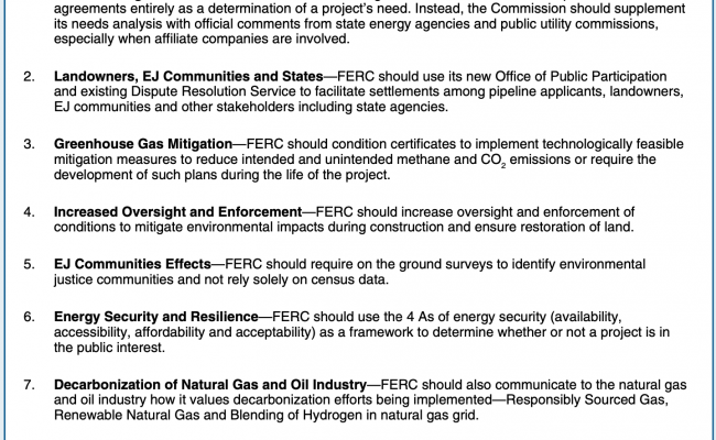 Key Elements Needed in FERC's Revised Pipeline Policy