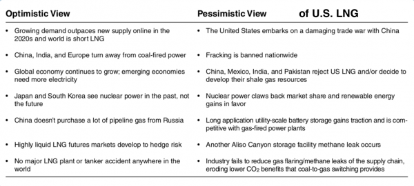 Optimistic and Pessimistic View of U.S. LNG