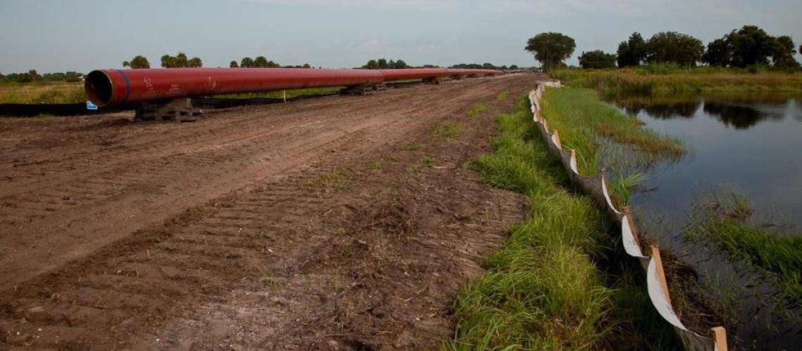Pipeline near wetlands